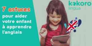 enfant qui apprend l'anglais en ligne
